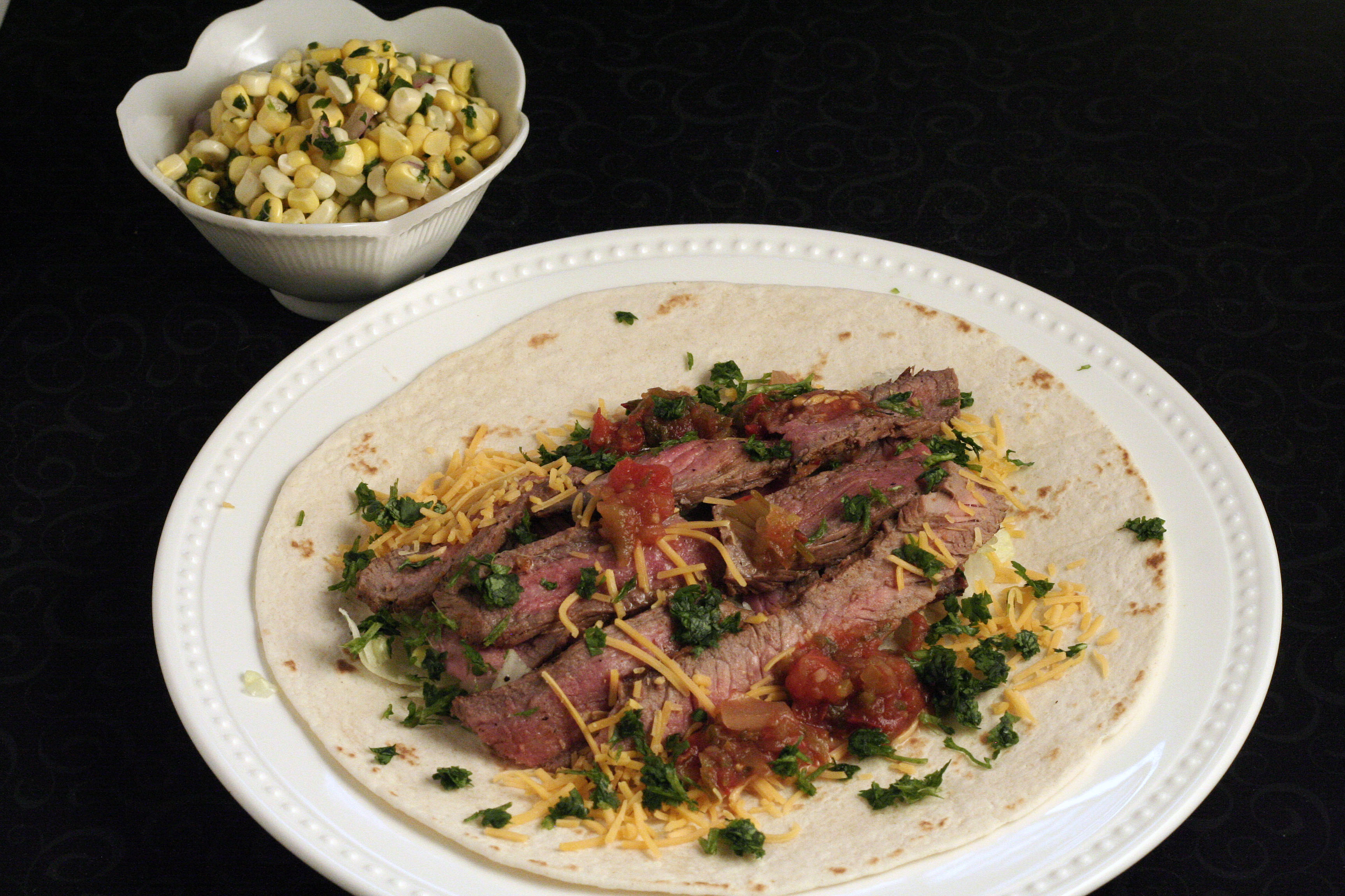 Steak Tacos With Roasted Tomato Green Chile Salsa Recipe — Dishmaps